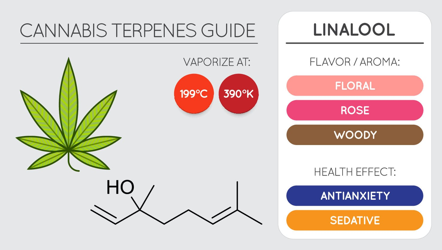 cannabis terpenes chart of linalool, showing best vaporisation temperatures, flavour profile and health benefits,